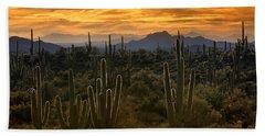 A Golden Sonoran Sunset  Hand Towel