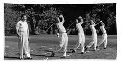 A Golf Driving Demonstration. Hand Towel by Underwood Archives
