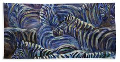 Hand Towel featuring the painting A Group Of Zebras by Xueling Zou