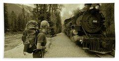 A Hiker Waits To Board The Train Hand Towel