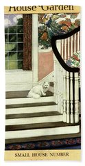 A House And Garden Cover Of A Cat On A Staircase Bath Towel