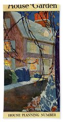 A House And Garden Cover Of A House In Winter Hand Towel