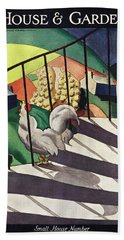 A House And Garden Cover Of A Rooster Hand Towel