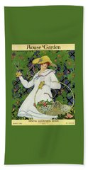A House And Garden Cover Of A Woman Gardening Bath Towel