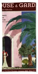 A House And Garden Cover Of A Woman In A Doorway Hand Towel