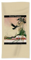 A House And Garden Cover Of Crows By A House Bath Towel