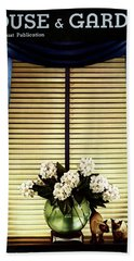 A House And Garden Cover Of Flowers By A Window Hand Towel