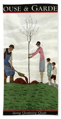 A House And Garden Cover Of People Planting Hand Towel