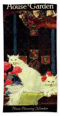 A House And Garden Cover Of White Cats Hand Towel
