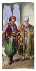 A Janissary And A Merchant In Cairo Bath Towel