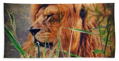 A Lion Portrait Bath Towel