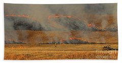 A Lone Firefighter On The Norbeck Prescribed Fire. Bath Towel