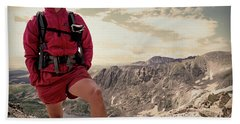 A Male Hiker Stops To Take In The Views Hand Towel