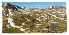 A Man Hiking Through Tundra In The San Hand Towel