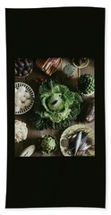 A Mixed Variety Of Food And Ceramic Imitations Hand Towel