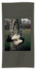 A Model Hugging A Tree Hand Towel