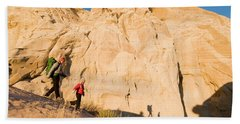 A Mother And Daughter Hiking Sandy Hand Towel