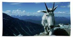 A Mountain Goat Climbs On The Edge Bath Towel