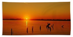 A New Day Dawns... Over Dock Remains Hand Towel by Daniel Thompson
