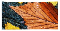 Hand Towel featuring the photograph A Parking Space For Autumn Leaf by Gary Slawsky