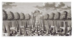 A Parterre With Orange Trees In The Garden Of The Lichtenstein Palace Hand Towel