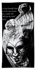 A Picture Of A Venitian Mask Accompanied By An Oscar Wilde Quote Bath Towel
