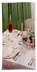 A Pink Table Setting Bath Towel
