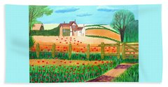 Bath Towel featuring the painting A Poppy Field by Magdalena Frohnsdorff