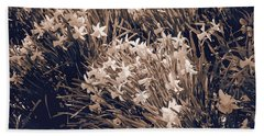 Clusters Of Daffodils In Sepia Hand Towel