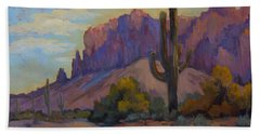 A Proud Saguaro At Superstition Mountain Bath Towel