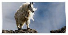 A Proud, Shaggy Mountain Goat Oreamnos Bath Towel