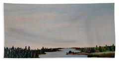 Hand Towel featuring the painting A River Shoreline by Marilyn  McNish