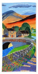 Bath Towel featuring the painting a Scottish highland lane by Magdalena Frohnsdorff