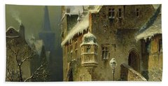A Small Town In The Rhine Bath Towel by August Schlieker