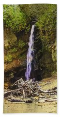 Hand Towel featuring the photograph A Small Waterfall At Depot Bay On The Oregon Coast by Diane Schuster