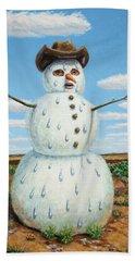 A Snowman In Texas Hand Towel
