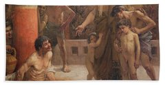 A Spartan Points Out A Drunken Slave To His Sons Hand Towel
