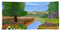 Bath Towel featuring the painting A Spring Stream by Magdalena Frohnsdorff