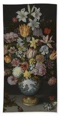 A Still Life Of Flowers In A Wan-li Vase Hand Towel