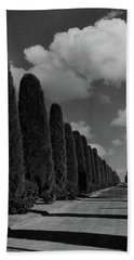 A Street Lined With Cypress Trees Bath Towel