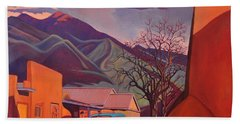 Bath Towel featuring the painting A Teal Truck In Taos by Art James West