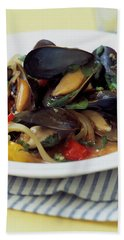 A Thai Dish Of Mussels And Papaya Bath Towel