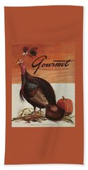 A Thanksgiving Turkey And Pumpkin Bath Towel