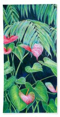 Bath Towel featuring the painting A Touch Of Red by Mariarosa Rockefeller