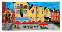 Bath Towel featuring the pyrography A Town Square On A Clear Day by Magdalena Frohnsdorff