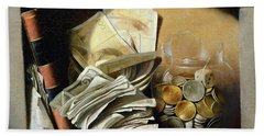 A Trompe Loeil Of Paper Money Coins Hand Towel