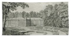 A View Of The Aviary And Flower Garden At Kew Hand Towel