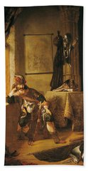 A Warrior In Thought Oil On Canvas Hand Towel