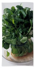 A Watercress Plant In A Bowl Of Water Bath Towel