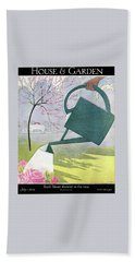 A Watering Can Above Pink Roses Hand Towel
